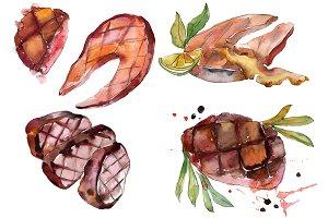 Salmon fish steaks PNG watercolor