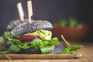 Healthy black vegan burgers