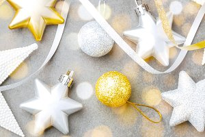 Golden silver christmas deco on grey