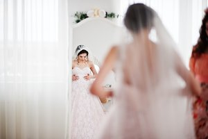 Pretty bride in outstanding wedding