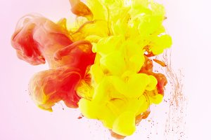 texture with flowing yellow and red