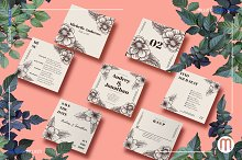 Square Floral Art Deco Wedding Suite by  in Invitations