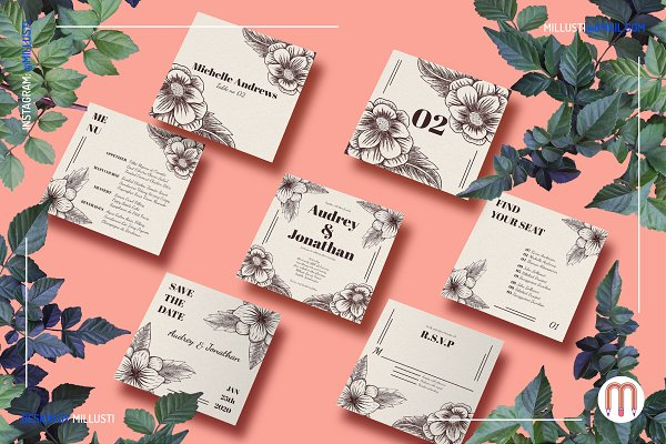 Invitation Templates: Millusti - Square Floral Art Deco Wedding Suite