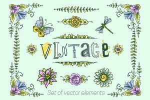 Vintage flower sketch vector element
