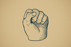 Hand drawn sketch vintage fist