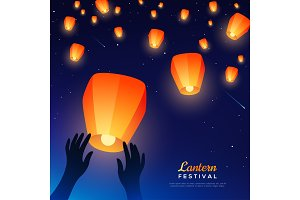 Hands releasing lanterns