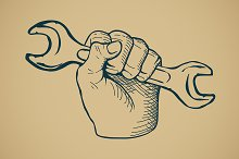 Vintage Sketch Hand with Wrench