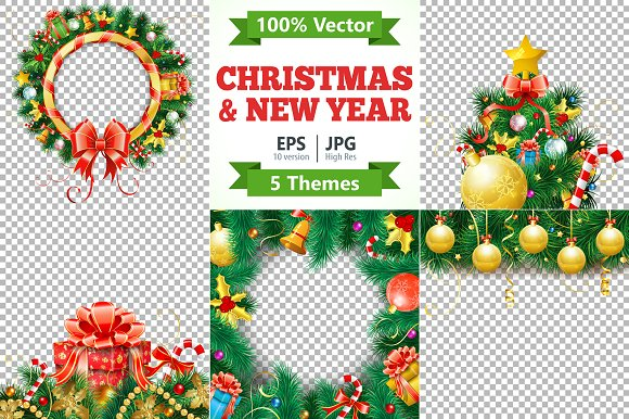 christmas and new year themes illustrations