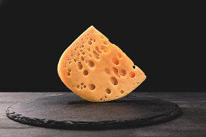 Close up shot of emmental cheese on