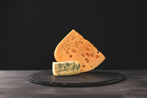 Closeup view of emmental and blue ch