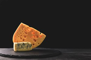 Close up view of emmental and blue c