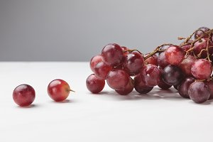 Close up view of pile of red grapes