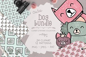 Dog clipart and pattern bundle