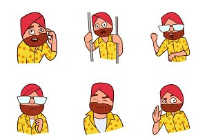 Punjabi Man Cartoon Illustration