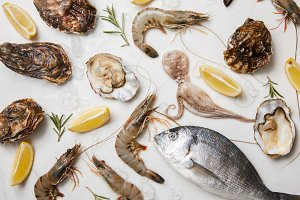Selection of raw seafood products wi