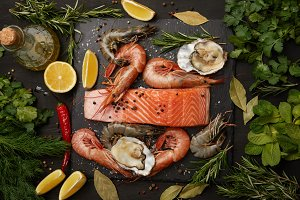 Raw salmon and assorted seafood with
