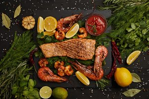 top view of grilled salmon steak, sh