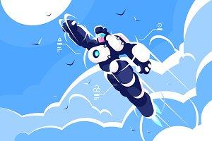 Man super hero spacesuit in sky