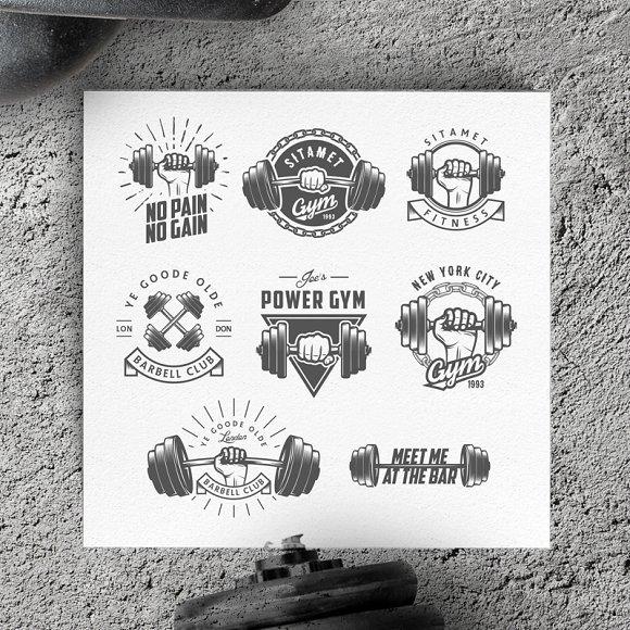 Gym Equipment Logo: Vintage Gym Logos & Design Elements