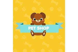 Cute pet shop banner cartoon dog