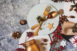 Holiday table setting, funny Christm