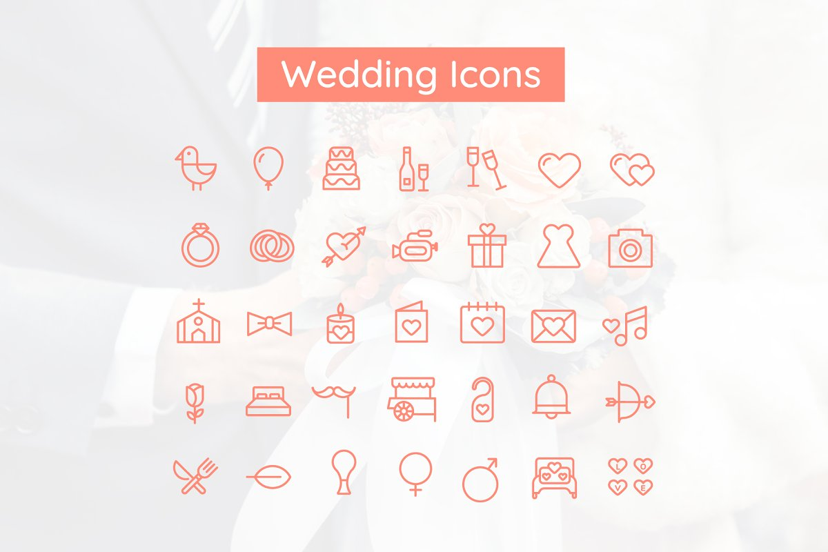 Wedding & Valentine Icon Set