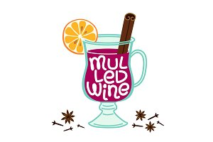 Cute Mulled Wine elements isolated