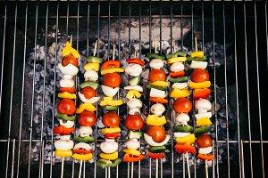 Top view of seasonal vegetables and