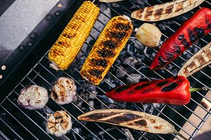 Vegetables and garlic grilled for ou