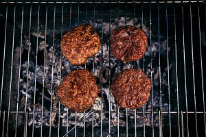 Hot meat chops grilled for outdoors