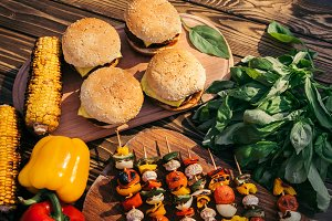 Hot delicious burgers and vegetables