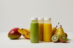 organic fruits and fresh smoothies i