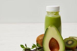 fresh detox smoothie with green avoc