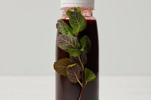 bottle of detox smoothie with mint o