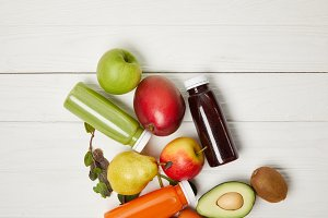 top view of fresh fruits and detox s