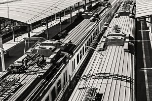 Roofs of trains on sunny day