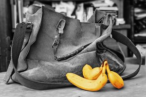 Old suede bag and bananas