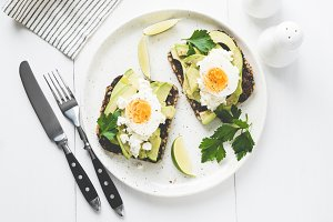 Avocado and egg on whole grain toast