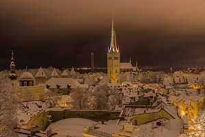 Tallinn old town night winter view