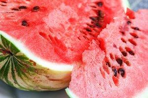 Parts of ripe watermelon