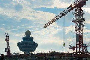 Airport terminal construction site.