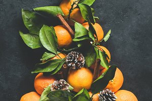 Christmas Tree made of tangerines