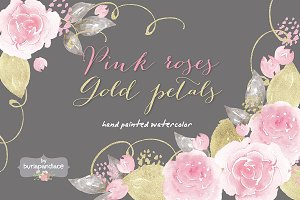 Pink roses, gold petals watercolor