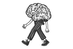 Human brain walks on its feet vector