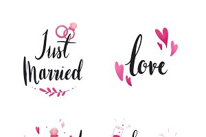 wedding and love typography vector