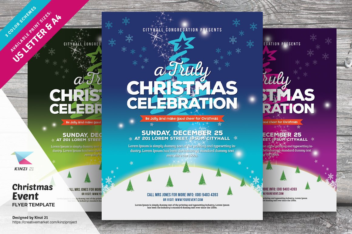 Christmas Event Flyer Template V01 Flyer Templates Creative Market