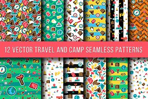 Travel And Camping Seamless Patterns