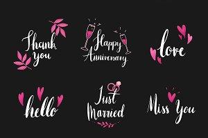 wedding and love typography vectors