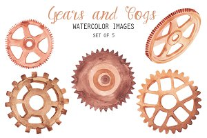 Watercolor Gears and Cogs Clipart