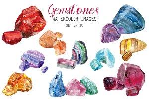 Watercolor Gemstones Clipart